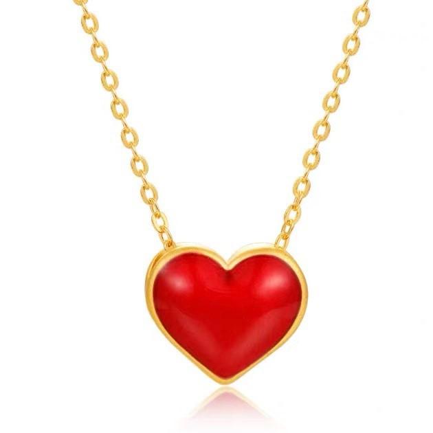 純金9999 黃金可愛小巧愛心墜子 0.07錢 雙面可戴 含純銀項鍊  迎鶴金品