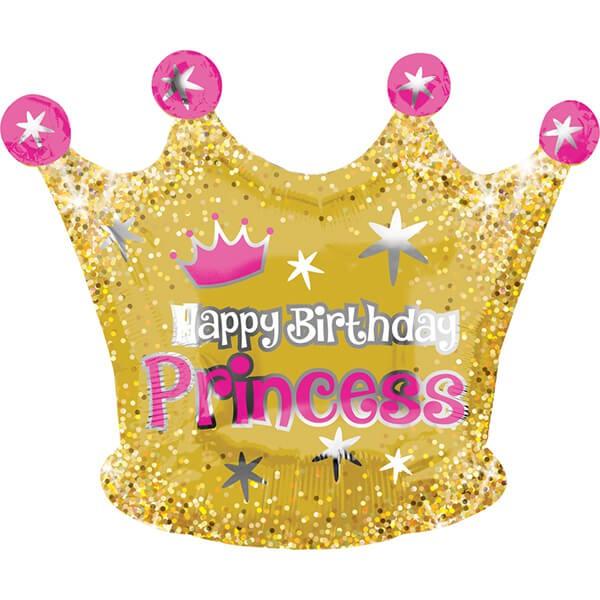 派對城 現貨 【50x40cm鋁箔氣球(不含氣)-金閃亮公主皇冠】 歐美派對 生日氣球 鋁箔氣球  派對佈置 拍攝道具