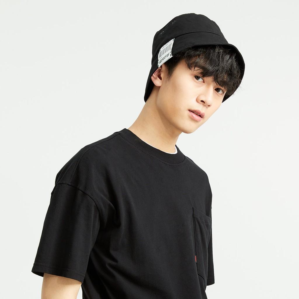 【ERSS】日系百搭遮臉織標漁夫帽  黑色 -中性 K20012