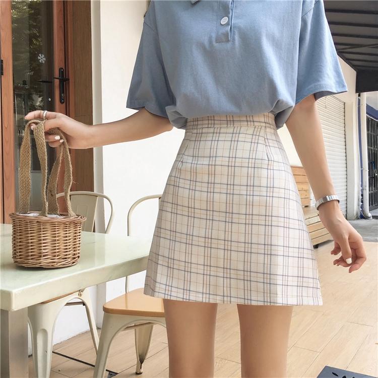 【HOT 本舖】學院風 格子短裙 A字裙 半身裙 包臀裙 夏季新款 一步裙 高腰顯腿長 甜美可愛 時尚百搭 ins超火