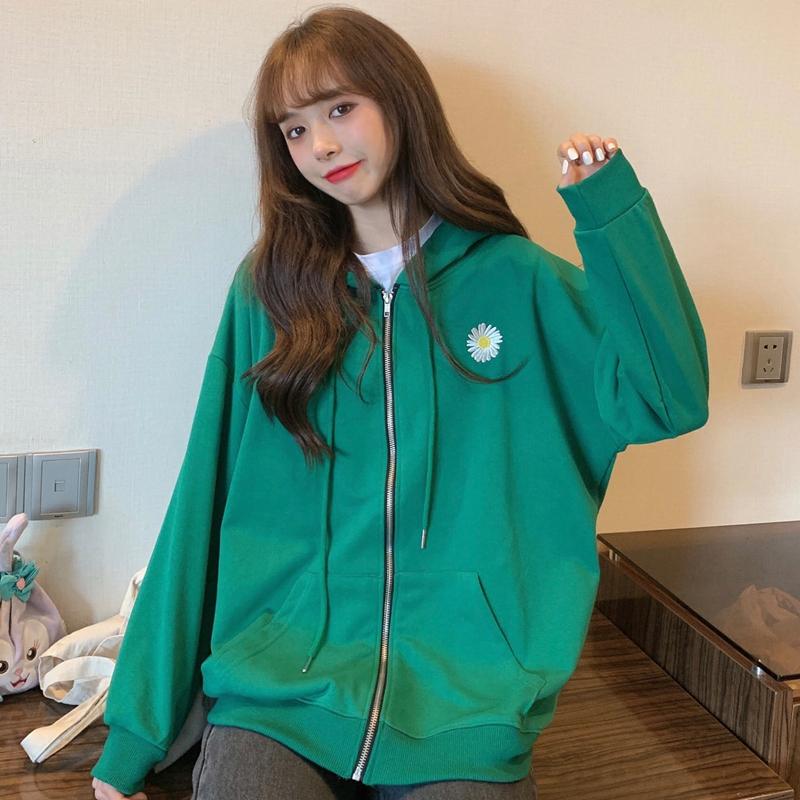 大學T 213132秋裝韓版寬鬆小雛菊刺繡開衫薄款外套