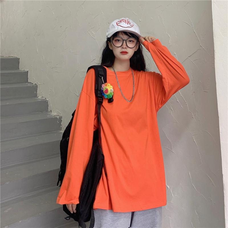 長袖T恤 217023韓版早秋薄款素色打底衫寬鬆圓領上衣潮