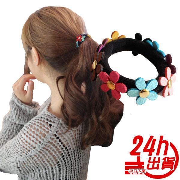 彩色花朵髮束 無接縫髮圈 髮圈 髮束 韓國髮飾 彈性髮圈綁髮圈可愛髮 人魚朵朵 台灣出貨 現貨 長期