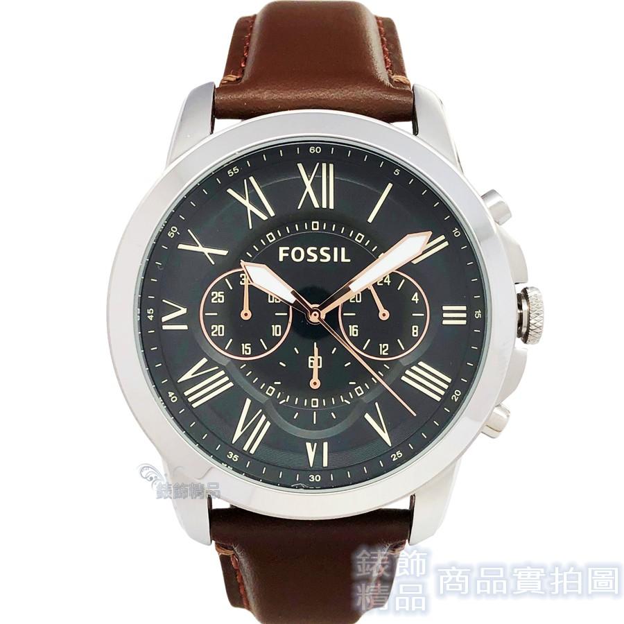 FOSSIL 腕錶 FS4813 IE 羅馬時標 三眼計時 黑面 咖啡色錶帶44mm 男錶