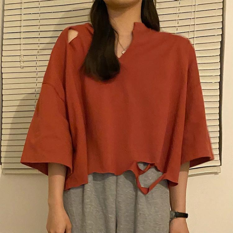 [嬌戀主角]素色破洞T恤寬鬆百搭T恤女網紅白色短袖上衣韓版個性打底衫
