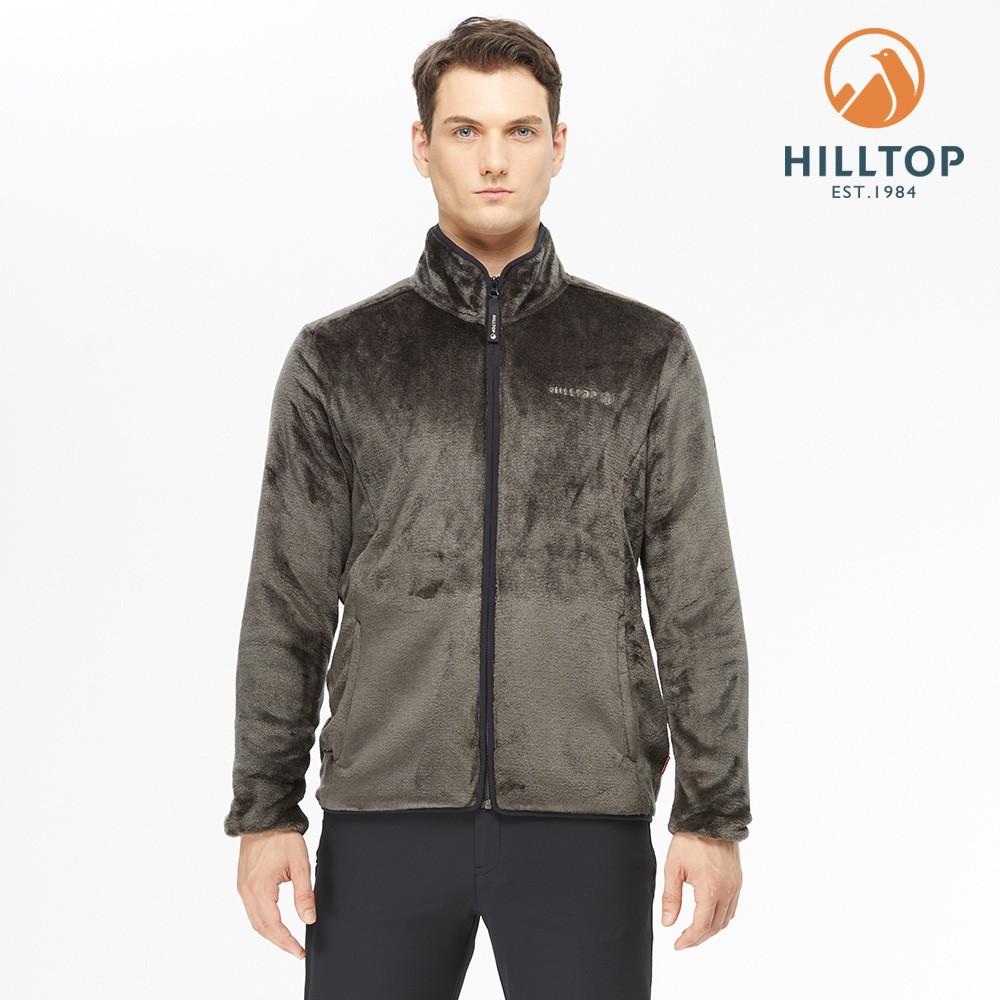 【hilltop山頂鳥】男款立領保暖刷毛外套 H22MY2 深灰色