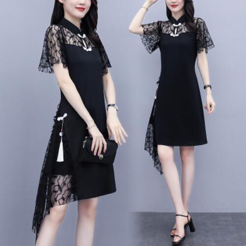 洋裝 裙子 拼接 中大尺碼L-5XL新款蕾絲拼接改良版旗袍遮肉顯瘦氣質大碼連身裙2F086-3025.胖胖美依