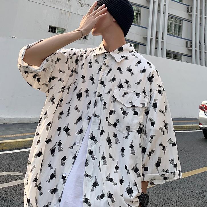 夏季滿版印花潮男五分袖襯衫  M-XXL韓版時尚花襯衫 垂感短袖襯衫3色【逆主流】