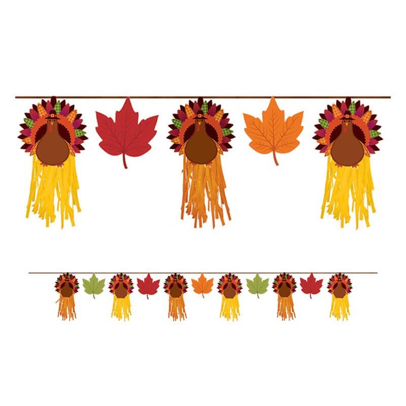 派對城 現貨【造型裝飾串-感恩節火雞】 歐美派對 造型旗串 生日字串 三角旗 感恩節 派對佈置 拍攝道具