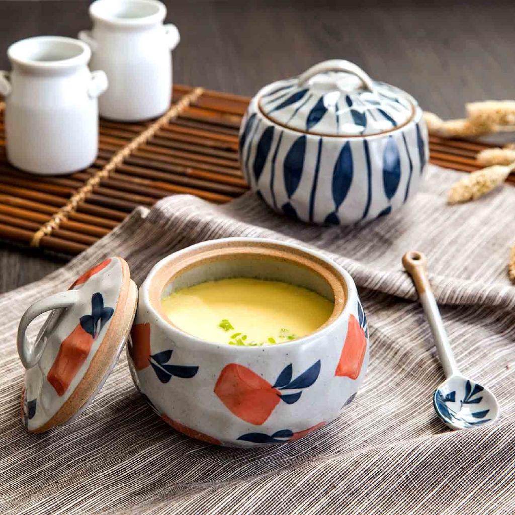 【現貨】居家家家用陶瓷帶蓋湯盅燉鍋隔水蒸蛋盅湯鍋煲湯內膽燉罐湯煲燕窩小燉盅