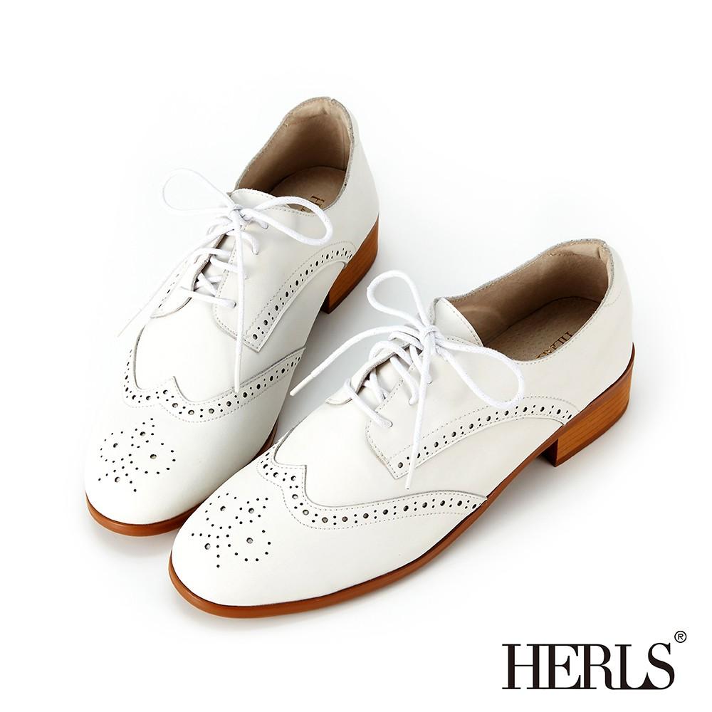 HERLS牛津鞋 全真皮雕花沖孔低跟德比鞋牛津鞋 白色