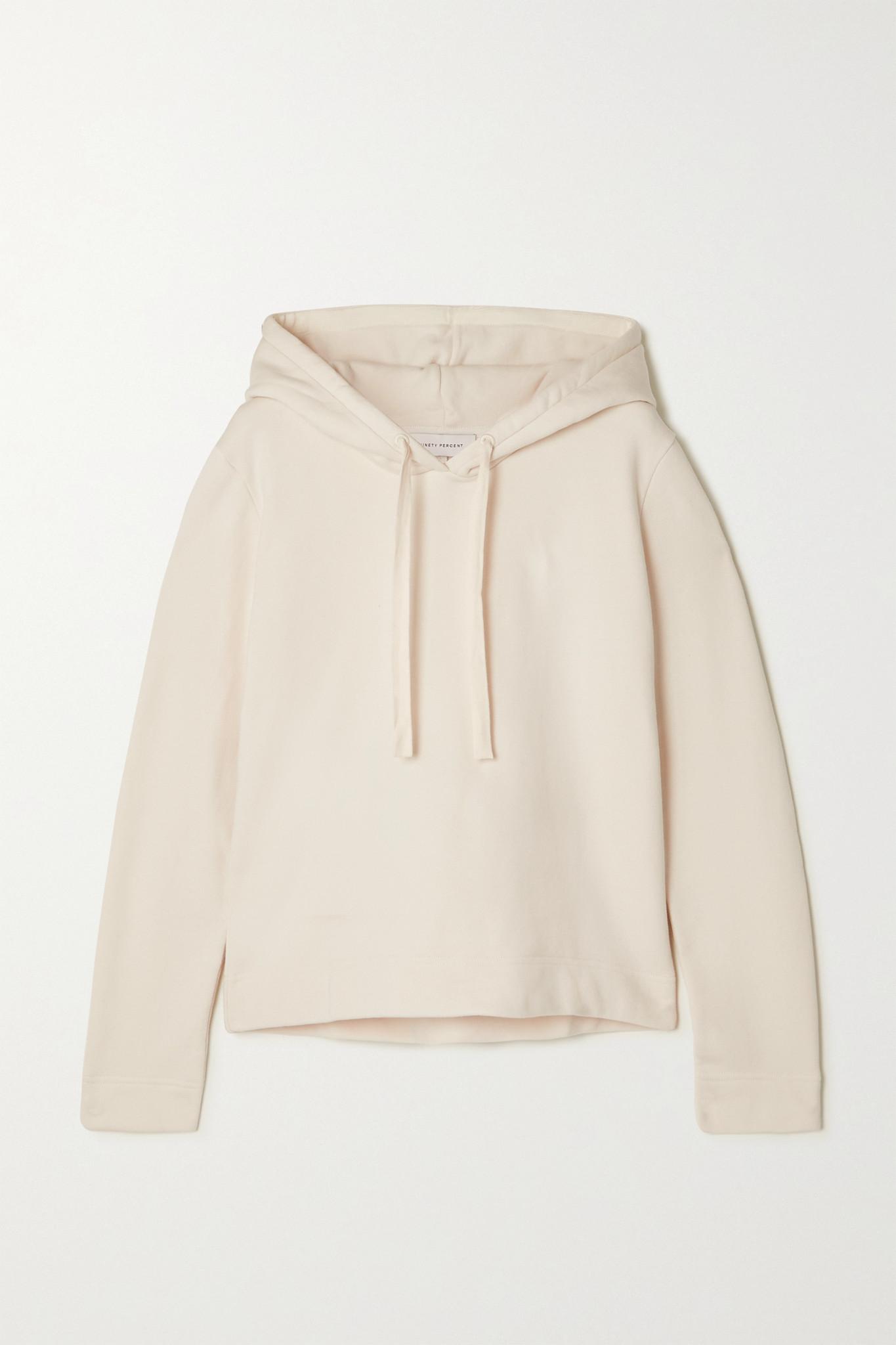 NINETY PERCENT - + Net Sustain Organic Cotton-jersey Hoodie - Off-white - large