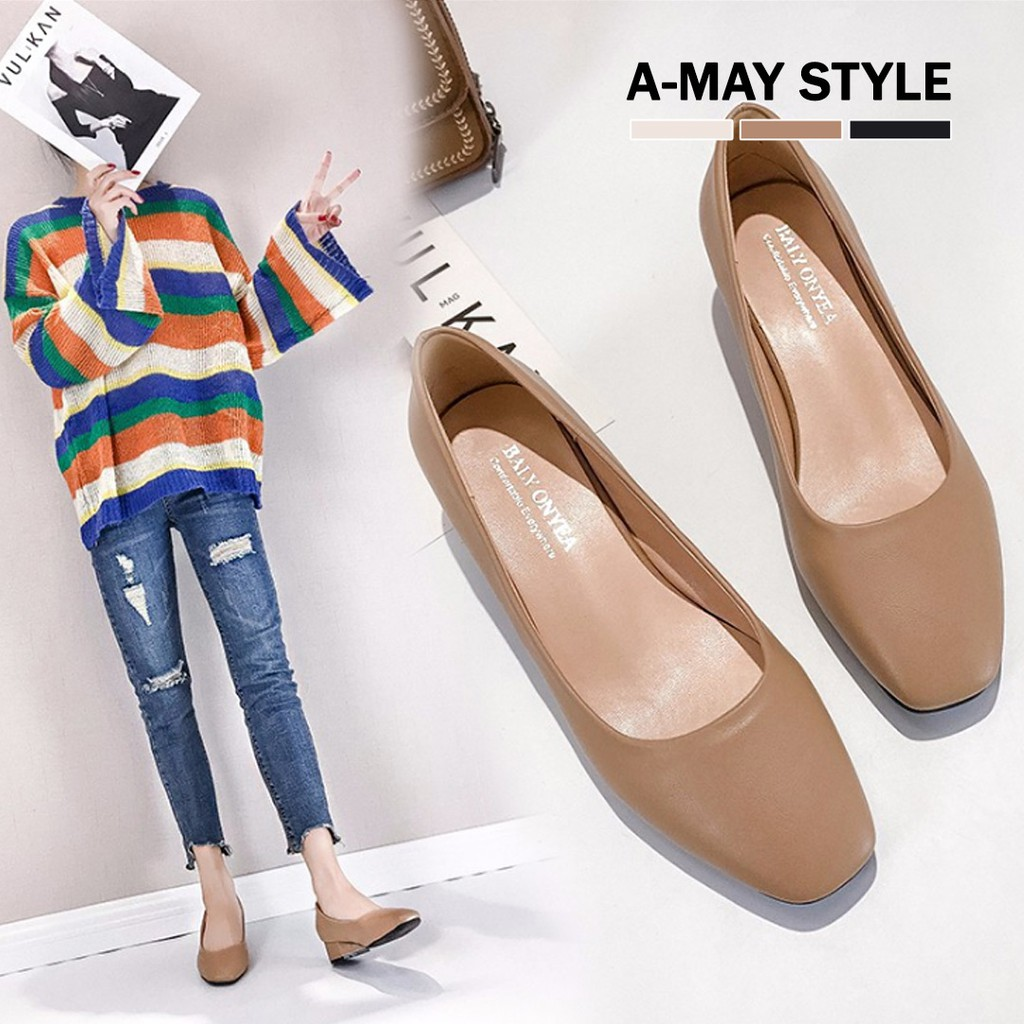 艾美時尚 跟鞋 素雅方頭好感低跟包鞋(36-40碼。共3色) XG580628