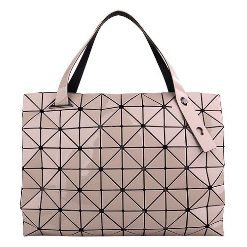 ISSEY MIYAKE  BAOBAO-幾何方格8x10拉鍊托特包(深米)亮面