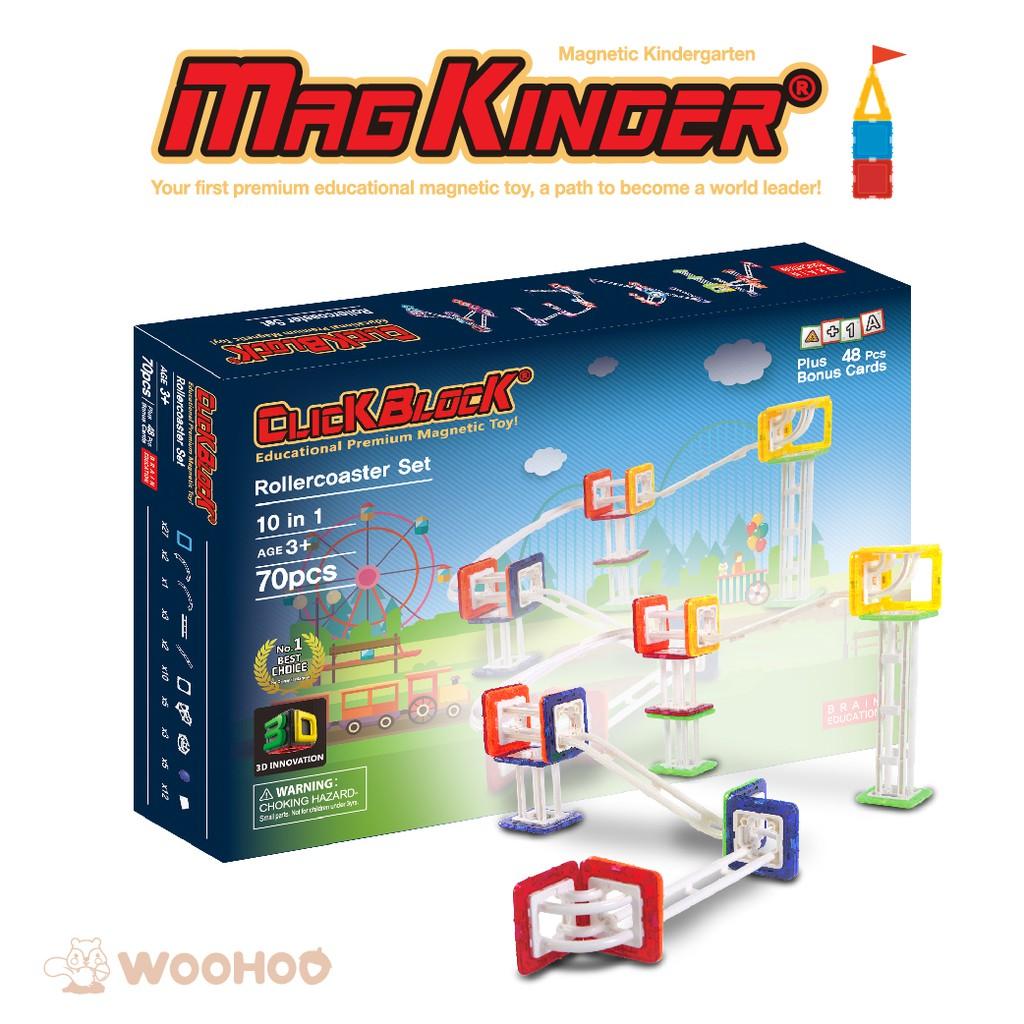 韓國 MagKinder x Click Block 2D 磁性建構 歡樂滾球塔 70件組