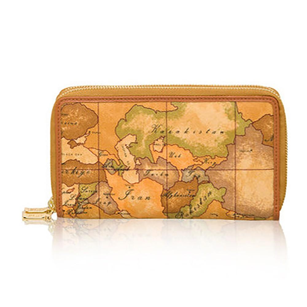【Alviero Martini 義大利地圖包】 雙層拉鍊28卡長夾-地圖黃