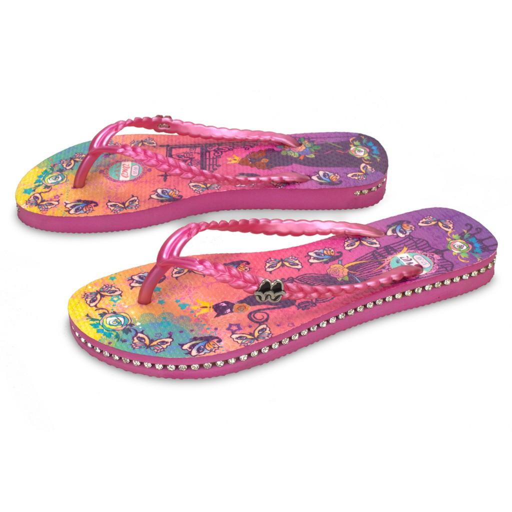 【插圖系列】專利 水鑽款Cat Princess 粉色 女鞋 橡膠人字拖 彈性夾腳拖 耐磨 現貨 台灣 拖鞋 鞋帶保固