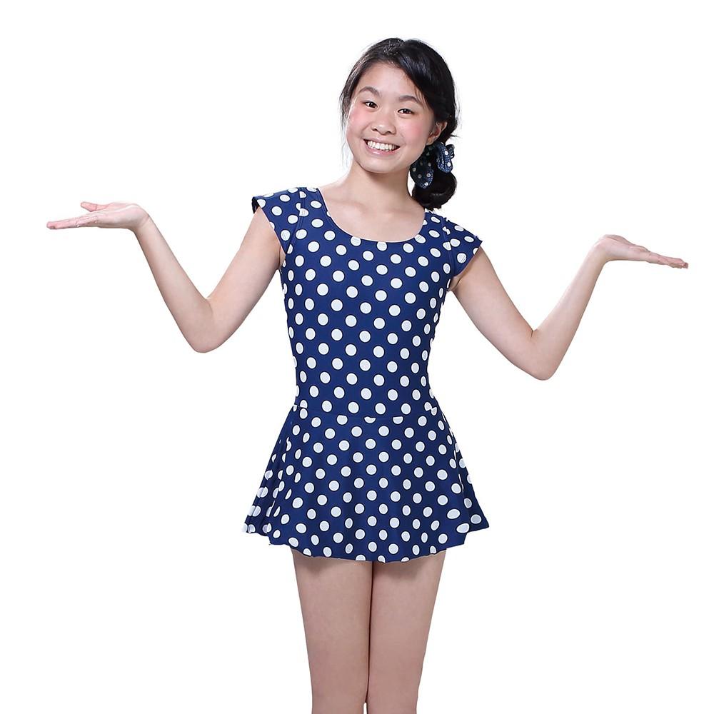 [奧可那]深藍白玉少女連身洋泳裝