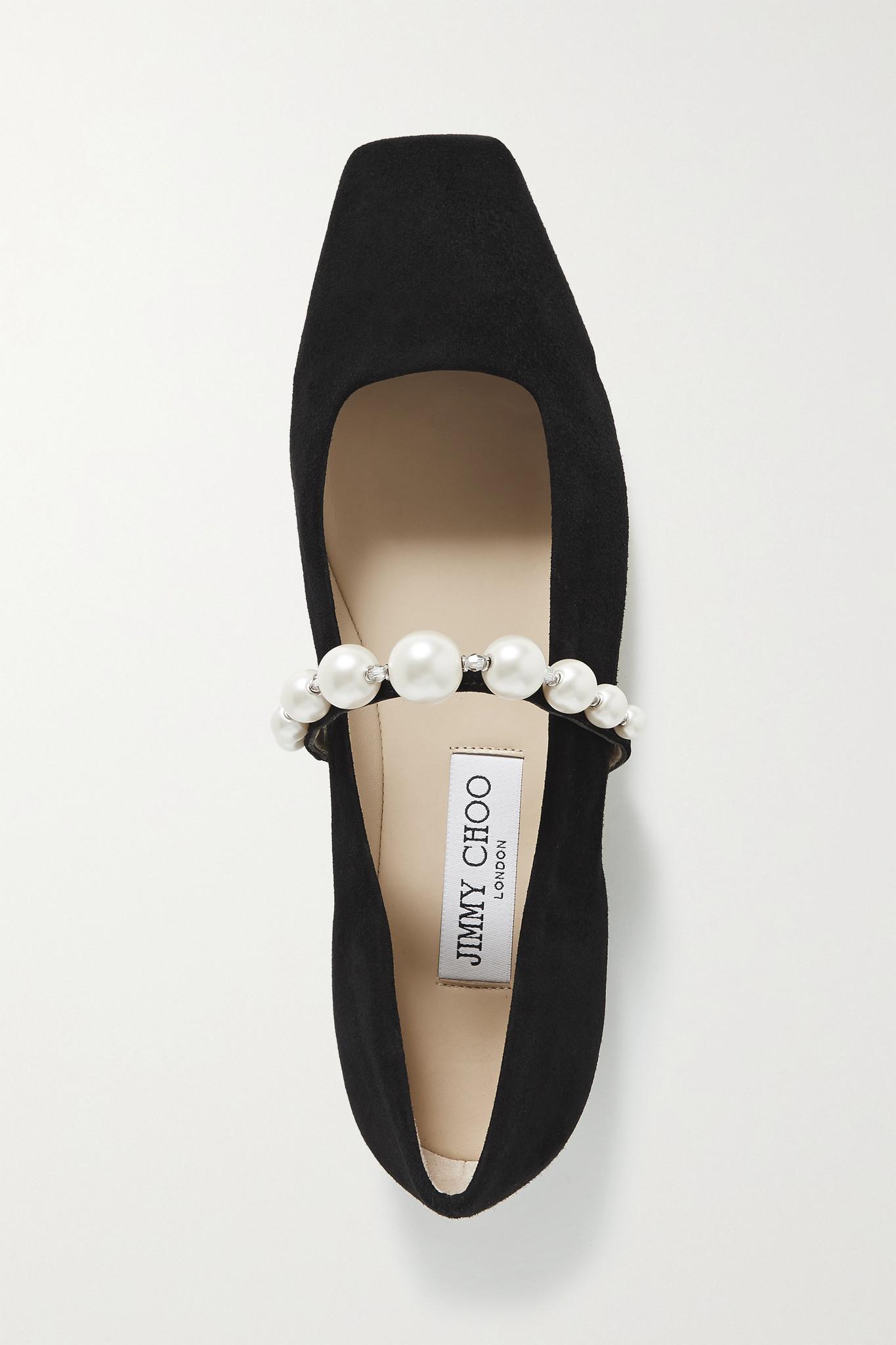 JIMMY CHOO - Ade Embellished Suede Ballet Flats - Black - IT39