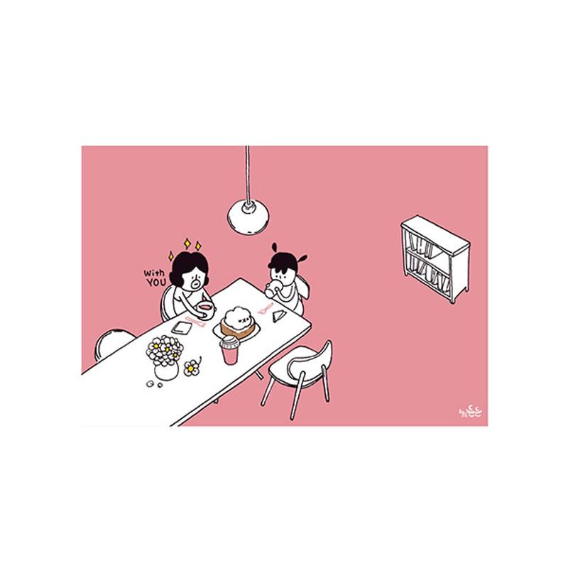 哈囉登登系列 插畫明信片(34.咖啡時光)