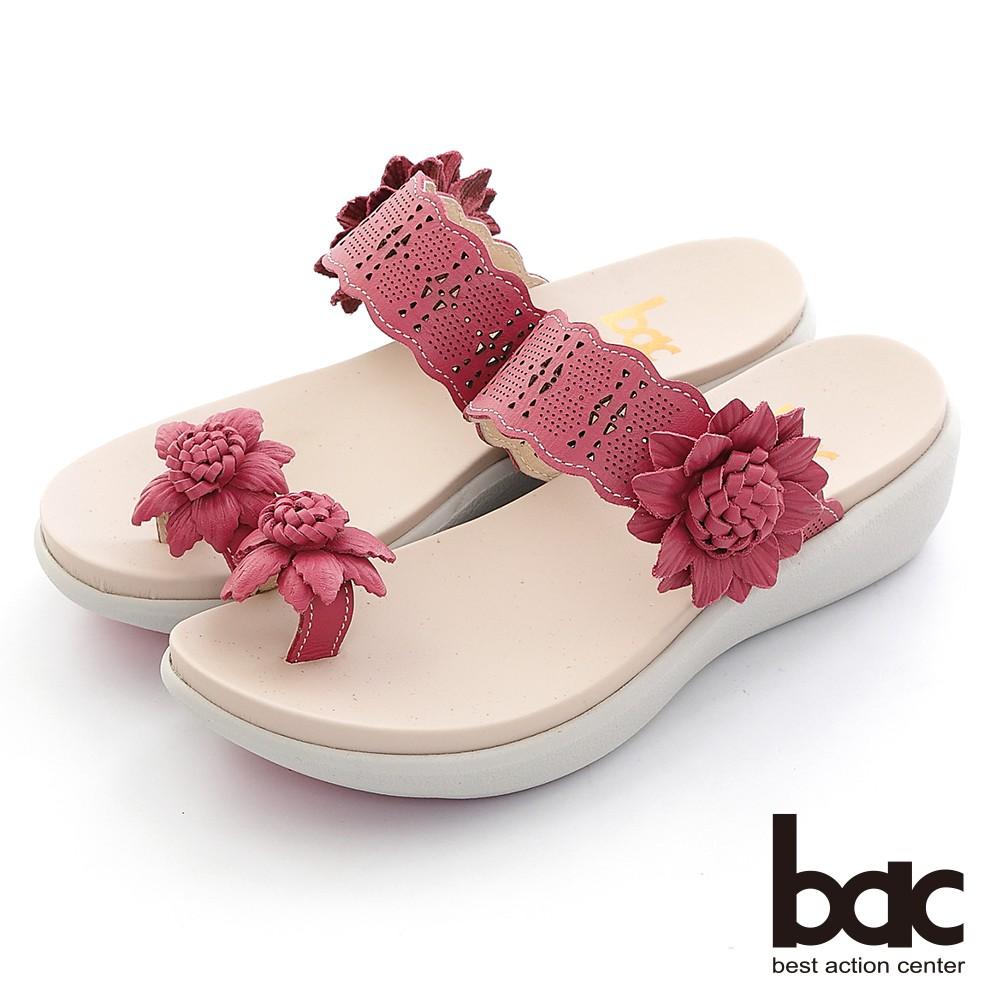 【bac】雷射沖孔花朵夾腳厚底舒壓拖涼鞋 - 桃紅色