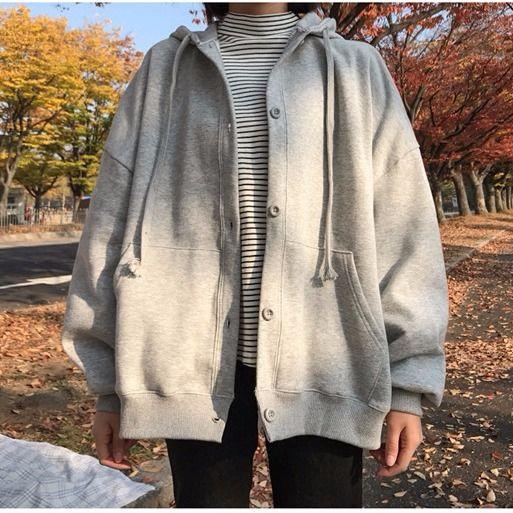 女生外套 長袖外套 連帽開衫 薄款刷毛款秋裝新款大學T女連帽韓版時尚寬鬆刷毛外套學生單排扣運動開衫
