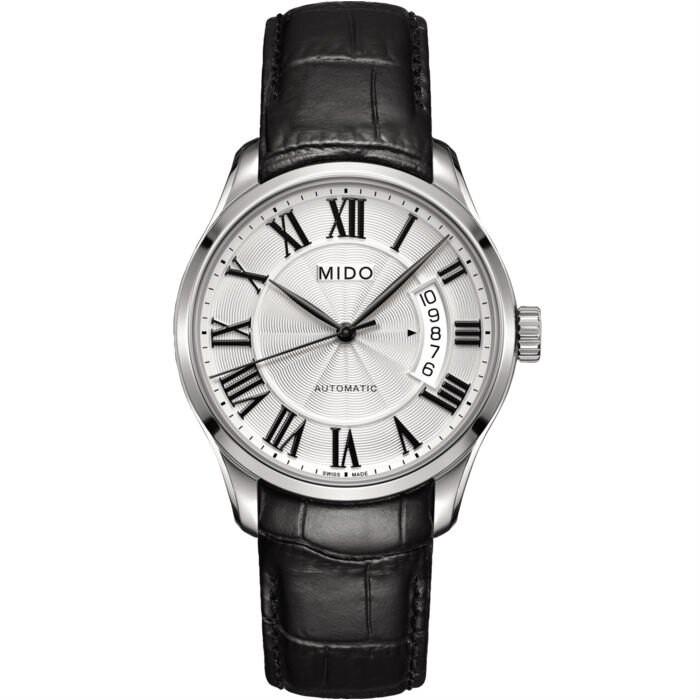 Mido 美度錶 M0244071603300 Belluna經典全拋光男士皮革腕錶/銀 40mm