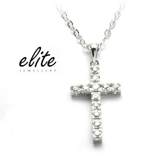 伊麗珠寶Elite│925純銀項鍊 - 經典鑽十字mini (不變色不過敏)