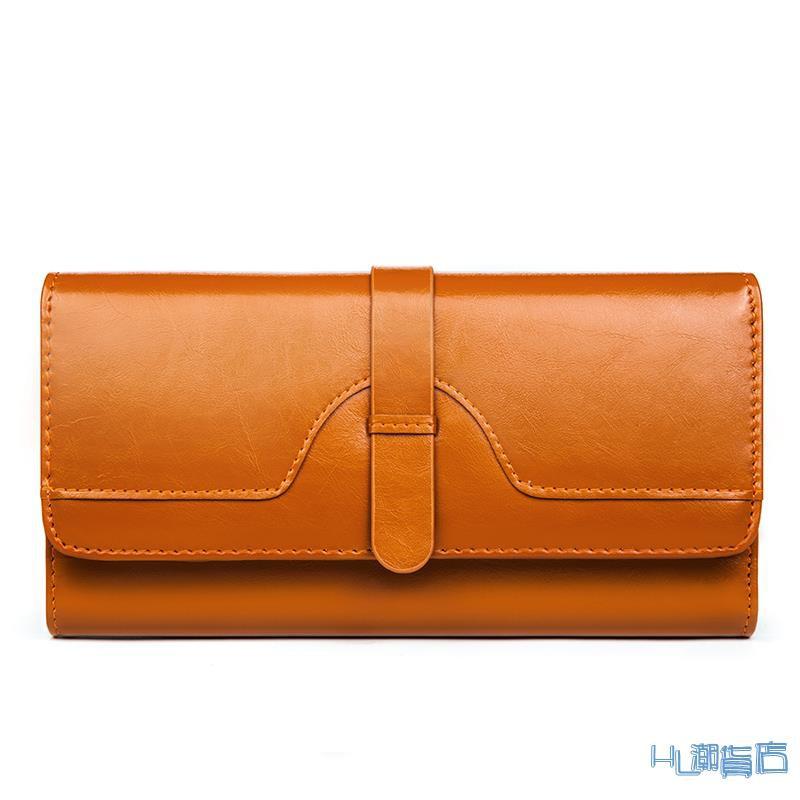 長皮夾(女)純皮三折女士錢包長款搭扣皮質皮質多卡位大容量韓版女式錢夾皮夾『HL288』