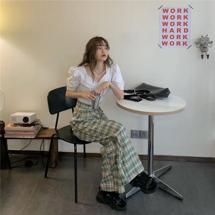 復古格子褲子女韓版休閒女褲寬鬆百搭高腰闊腿褲