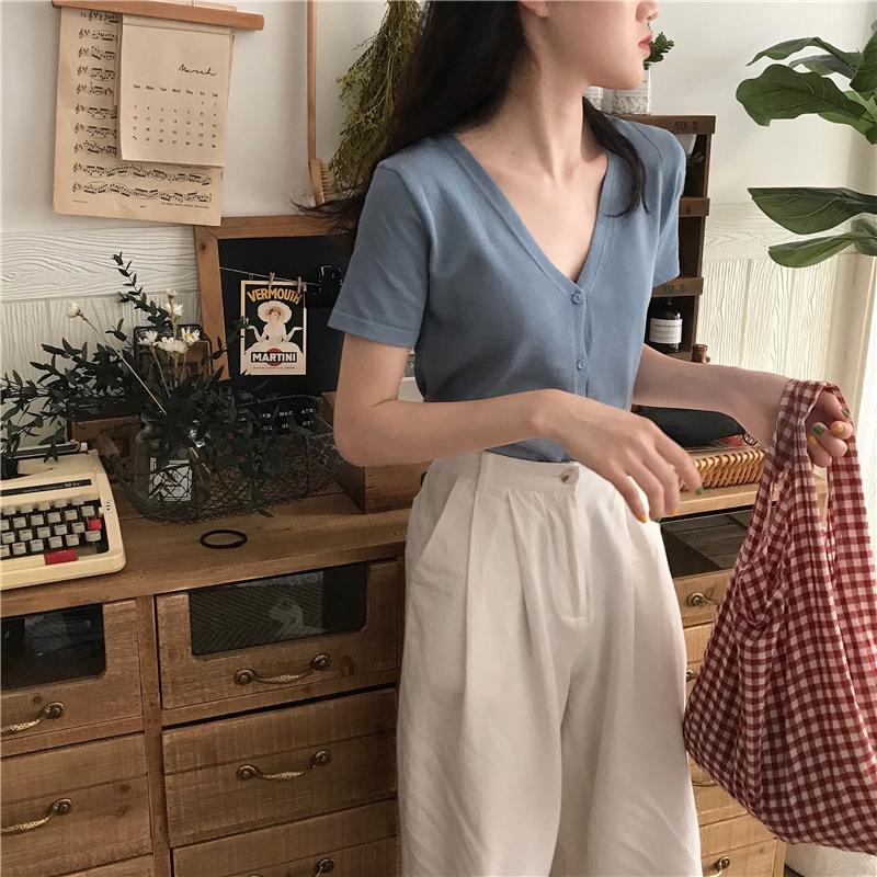 短袖針織衫 小開衫 新款韓版鈕扣氣質合身顯瘦百搭V領彈力針織上衣女 6色入