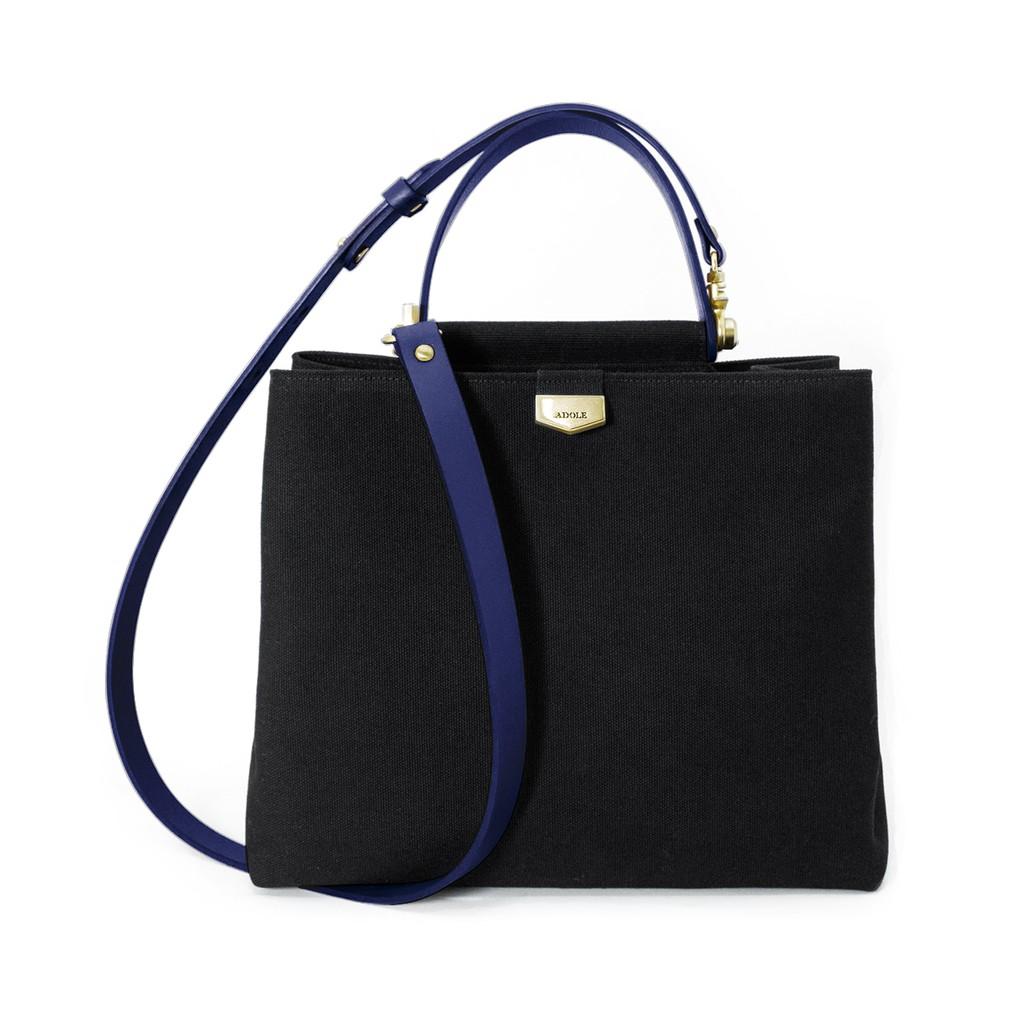 ADay皮革斜背包/黑帆布包+藍色提把【官方授權】ibaobao愛包包