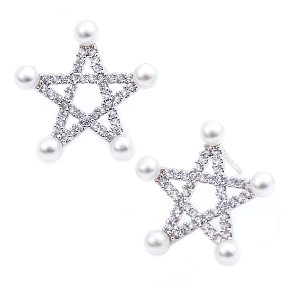 五角珍珠微鑽 925銀耳針 耳環 耳釘 經典百搭 時尚精品 艾豆 NNB5092