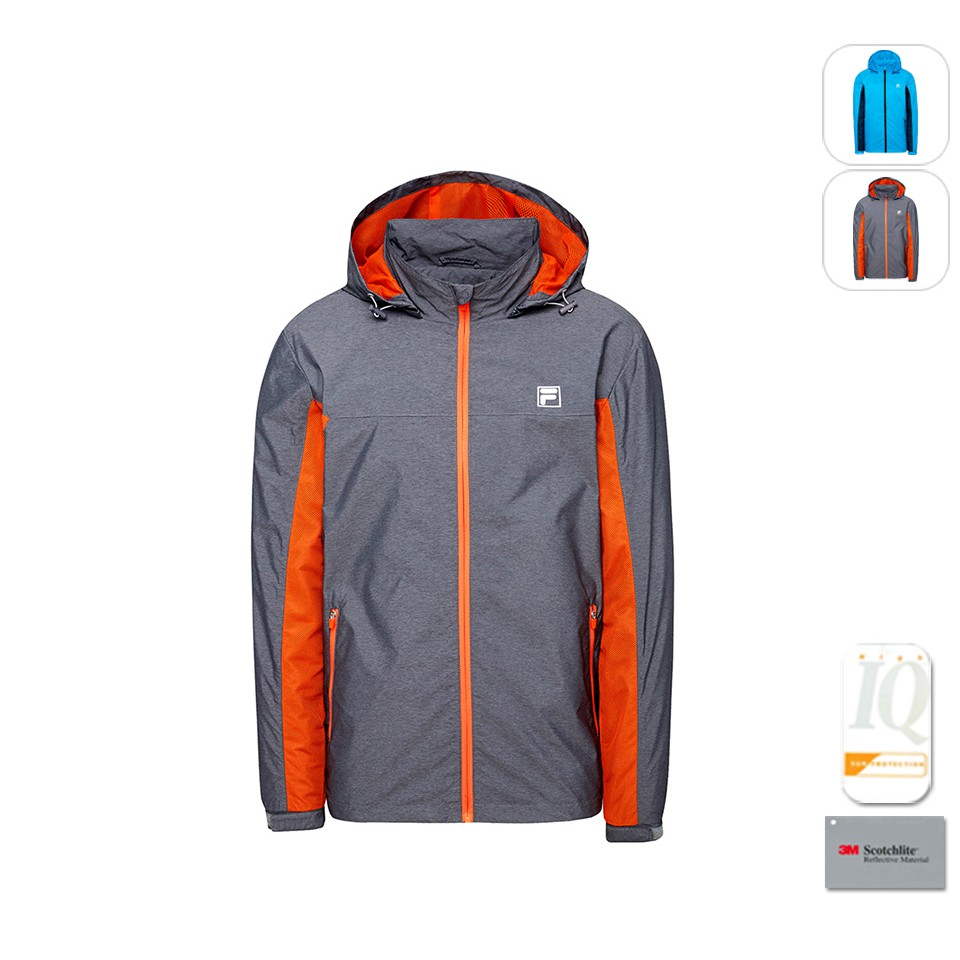 【FILA】男性 抗UV 防風 風衣外套 -深麻灰 1JKT-5306-RG
