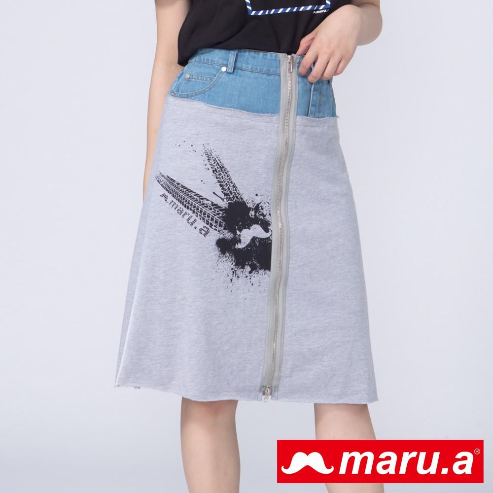 maru.a (99)個性印花牛仔拼接拉鍊長裙(淺藍)