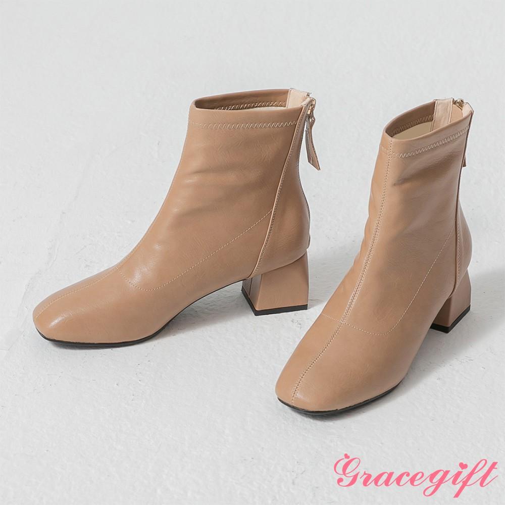 Grace gift-韓系方頭造型粗跟靴 杏