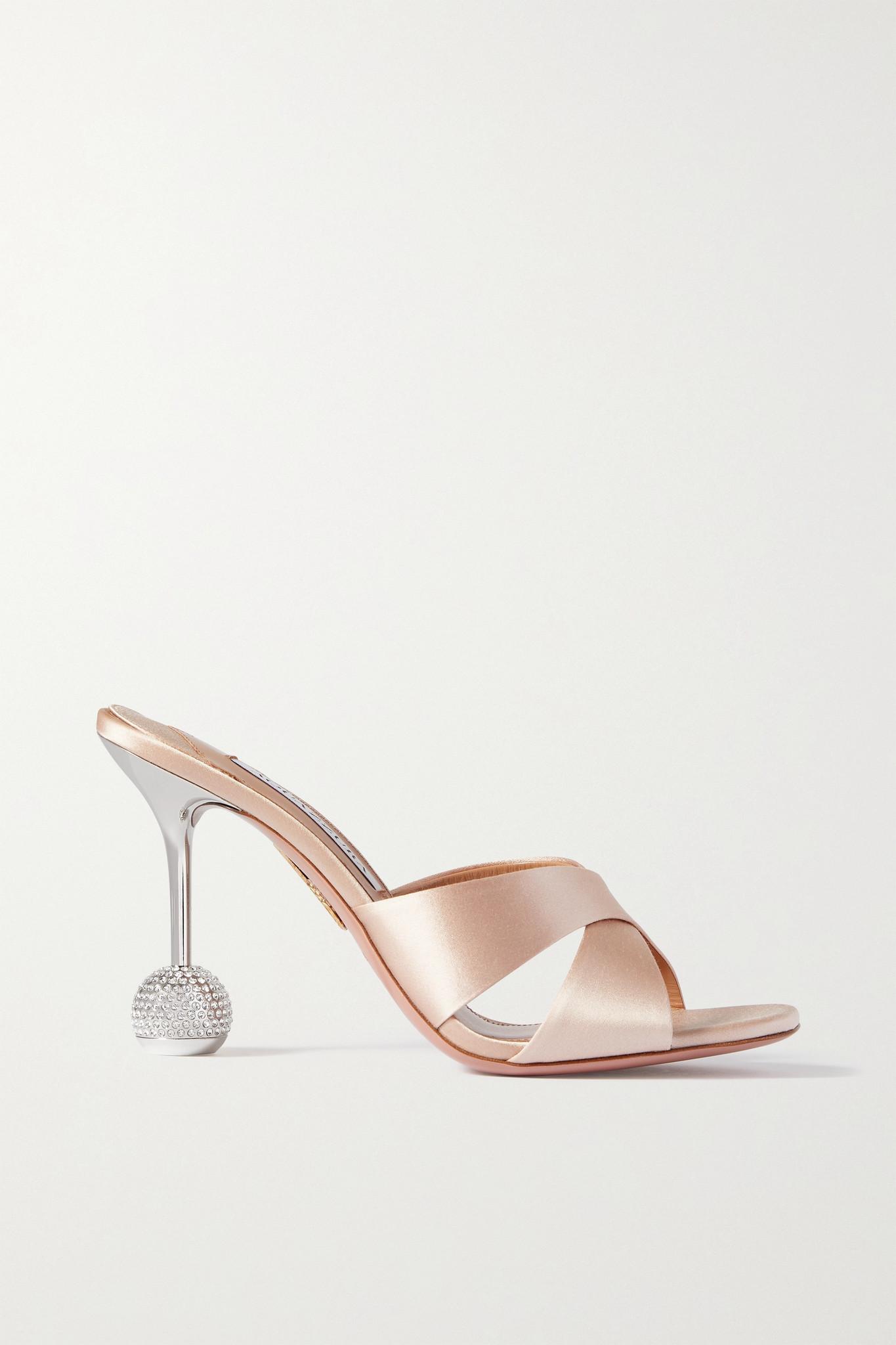 AQUAZZURA - Yes Darling 95 Crystal-embellished Satin Mules - Pink - IT38