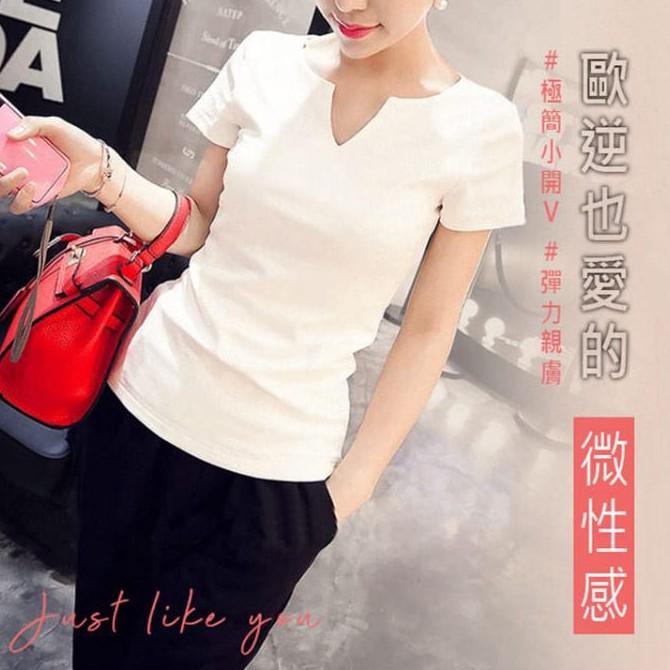 GF 短袖上衣 MIT台灣製造 韓版 顯瘦修身百搭小V領素面 短袖t恤 女生衣著 女生t恤 V領t恤 短t  2色