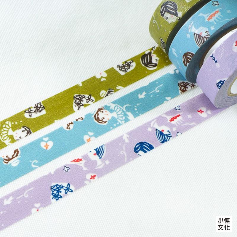 【倉敷意匠計劃室】日本進口 關美穗子系列和紙膠帶 - 小女孩三入組 ( 45322-01 ),15mm[小徑文化]