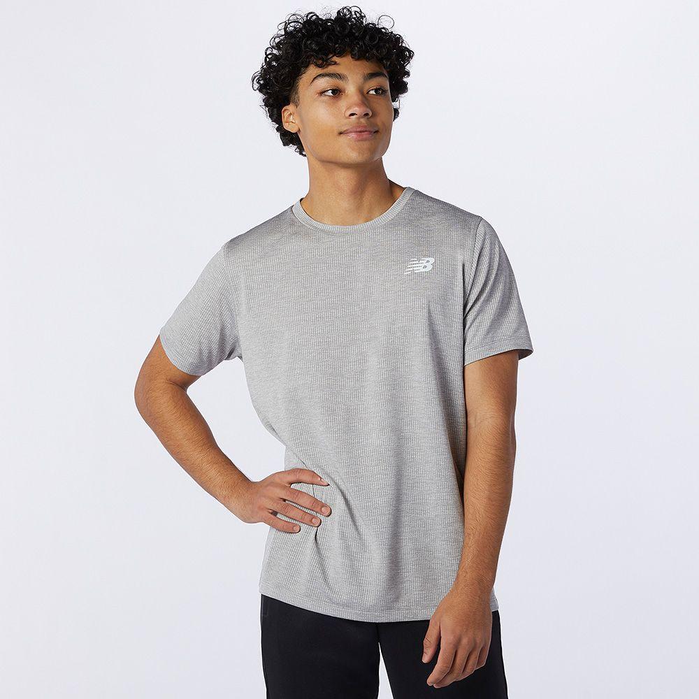 New Balance 男裝 短袖 慢跑 DRY 透氣 網眼針織 輕量 灰【運動世界】AMT11095AG