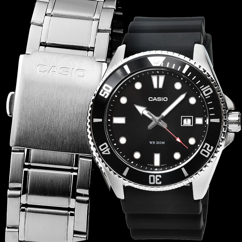【CASIO】卡西歐水鬼膠帶錶-鋼帶同捆 / MDV-107-1A1 / MDV-107-1A2 /MDV-107-1A