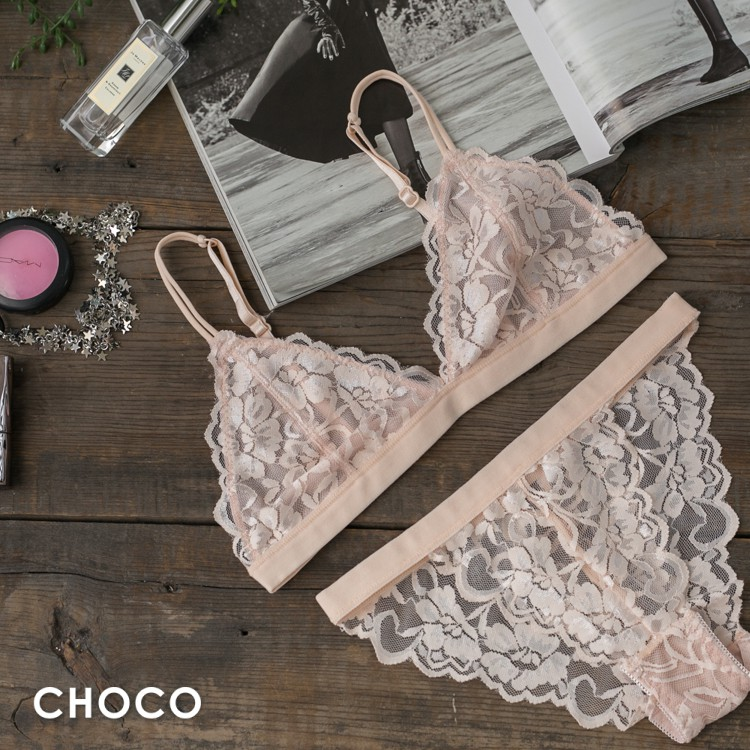 Choco Shop 凱莉的慾望  無鋼圈透明蕾絲薄襯款(米色) S-L