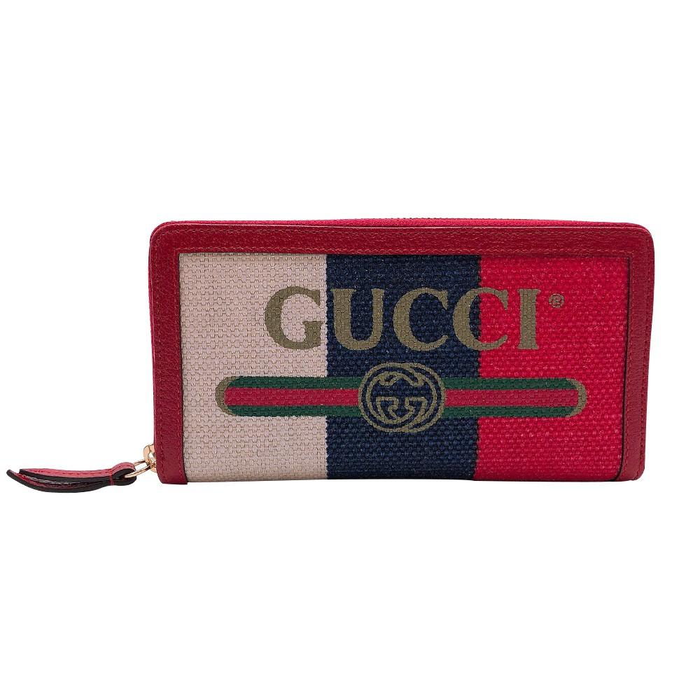 GUCCI Print logo 紅白藍拚色帆布長夾(524790)廠商直送