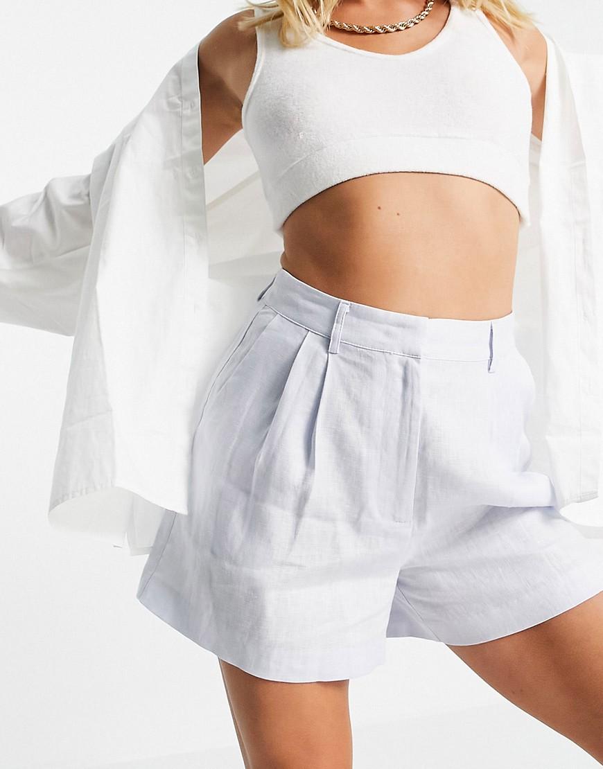 NA-KD x Mathilde Gohler co-ord linen shorts in light blue