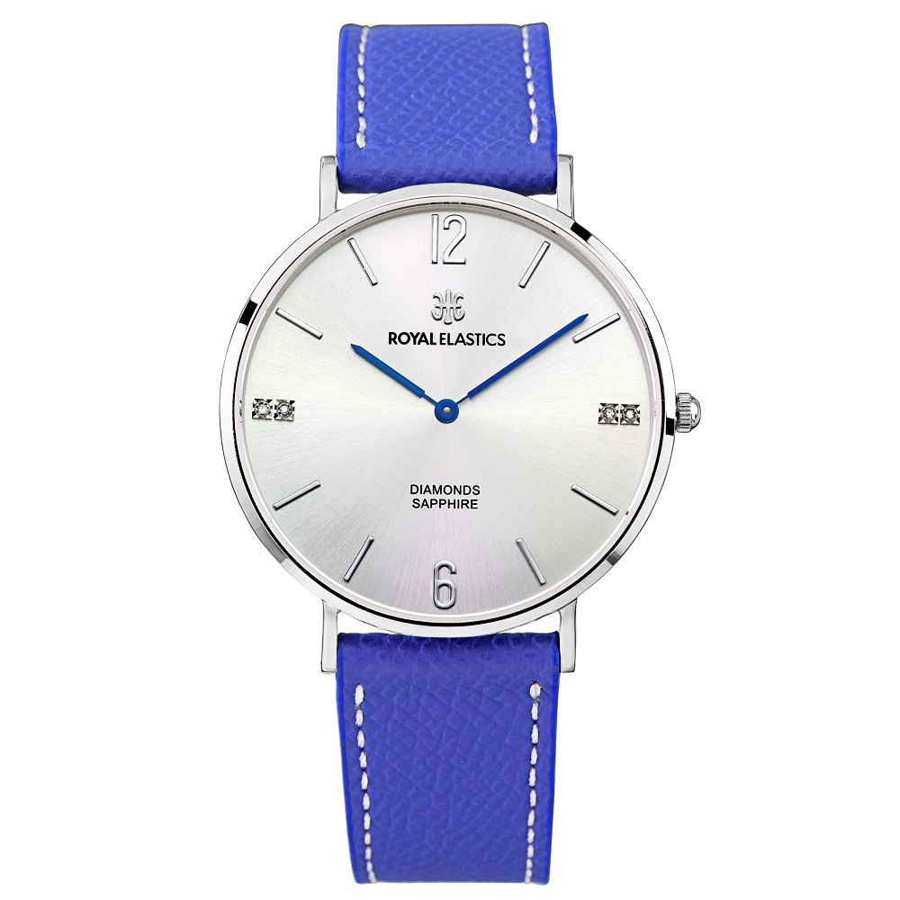 【ROYAL ELASTICS】皇室時尚石英腕錶(銀殼/銀面/寶藍錶帶)-大小尺寸