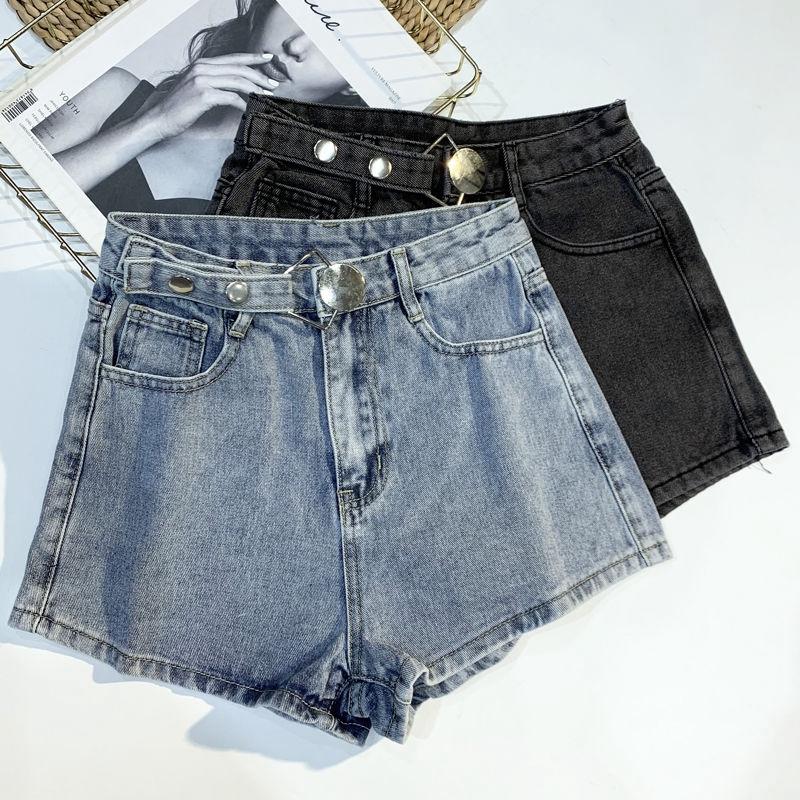 [現貨] 闊腿牛仔短褲女 高腰A字闊腿褲 簡約圓環暗扣寬鬆泫雅風熱褲