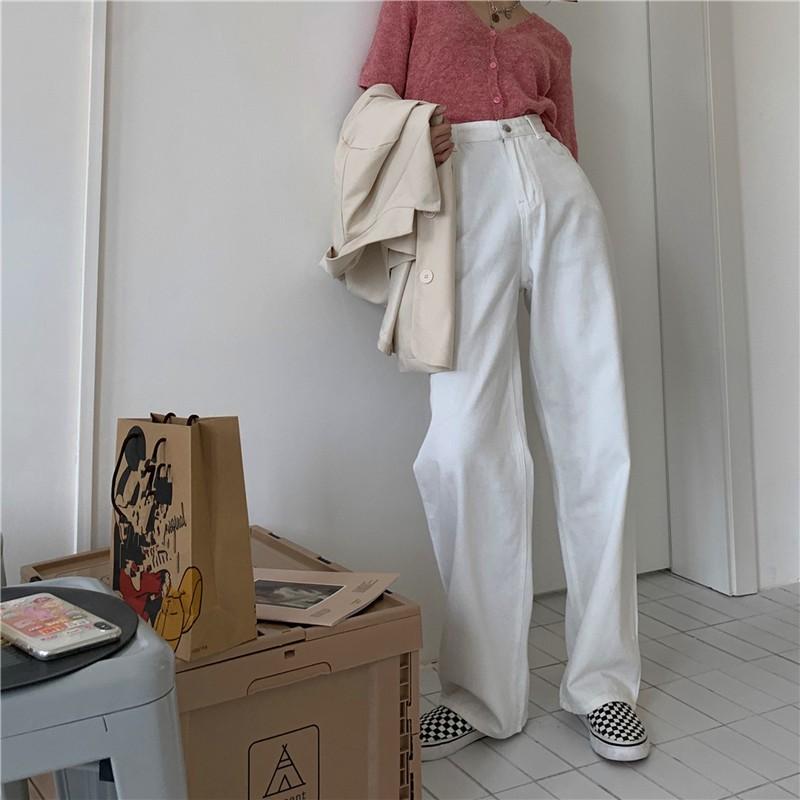 直筒牛仔褲 秋冬季黑白色寬松高腰顯瘦闊腿春秋褲子