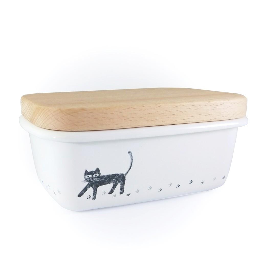 可愛貓咪系列琺瑯奶油盒+木質上蓋 【LifeShopping】 【現貨】糖果盒 文具盒 茶包盒