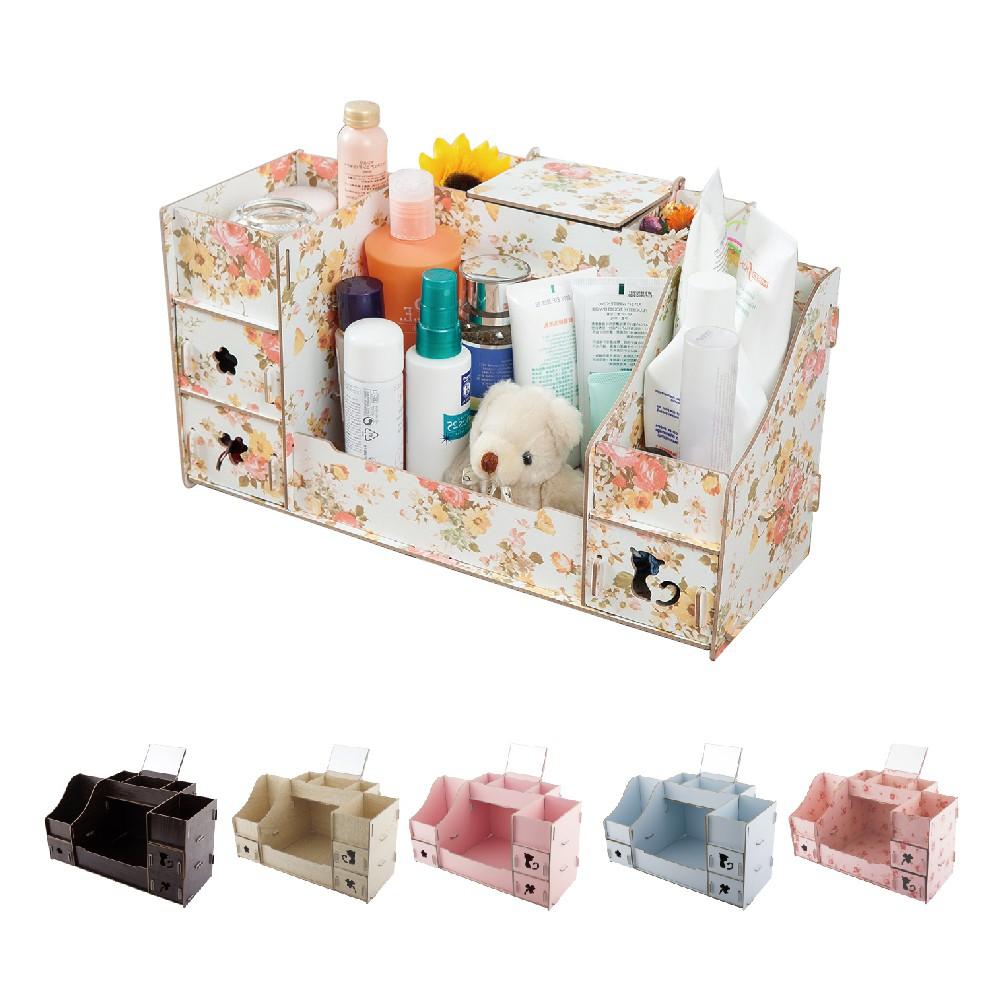 【FL生活+】DIY木質桌上收納盒系列 桌上收納 小物收納 化妝品收納 收納架 抽屜收納 花色隨機  銅板商品 百元商品