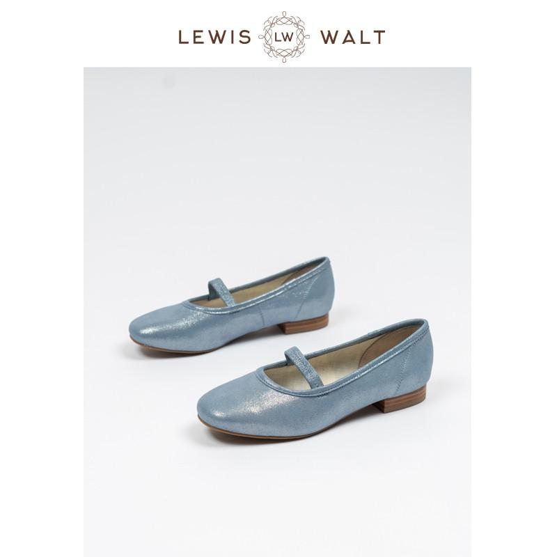 【Lewis  Walt】 Nappa軟羊皮通勤方頭淺口一字帶瑪麗珍低跟芭蕾單鞋
